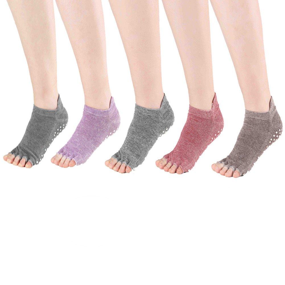 Laviesimple 5 Pairs Toeless Yoga Pilates Socks Non Slip Skid Barre Sock with Grips for Women & Men