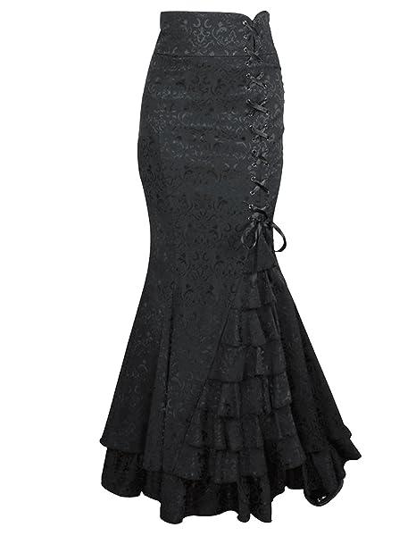 Burvogue Mujer Retro Dancing Gypsy Falda Larga Vintage Vestido Negro Negro XXXL: Amazon.es: Ropa y accesorios