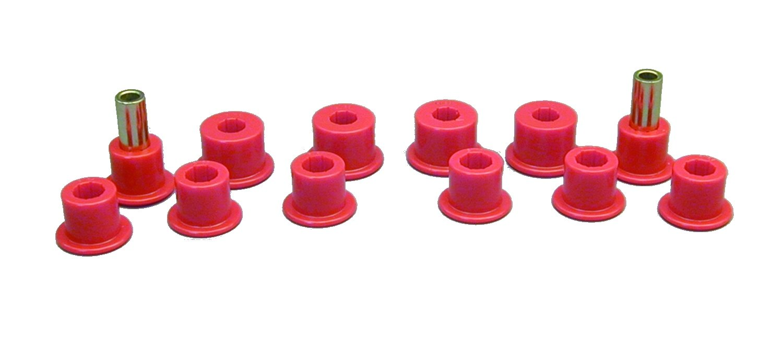 Prothane 14-1003 Red Rear Spring Eye and Shackle Bushing Kit