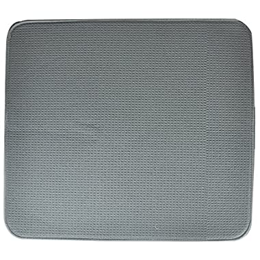 S&T 407200 Microfiber Dish Drying Mat, 16 by 18-Inch,  Gray