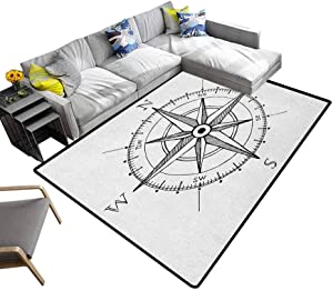 Compass Rug Pads Hand Drawn Compass Windrose North and South East West Directions Black and White Washable Area Rug Black White (5'x8')