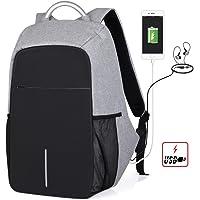 Sonolife Mochila Antirrobo contra Agua Nuevo DISEÑO para Laptop con Acceso para Carga de Celular USB Audio, Bolsillos Organizadores para Viaje o Negocios Unisex