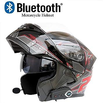 92a02e0a4317b Motocicleta Bluetooth Casco Motocicleta Casco Anticolisión Modular D.O.T  Certificación Flip Frontal Antivaho Doble Espejo Respuesta Automática  Bluetooth ...