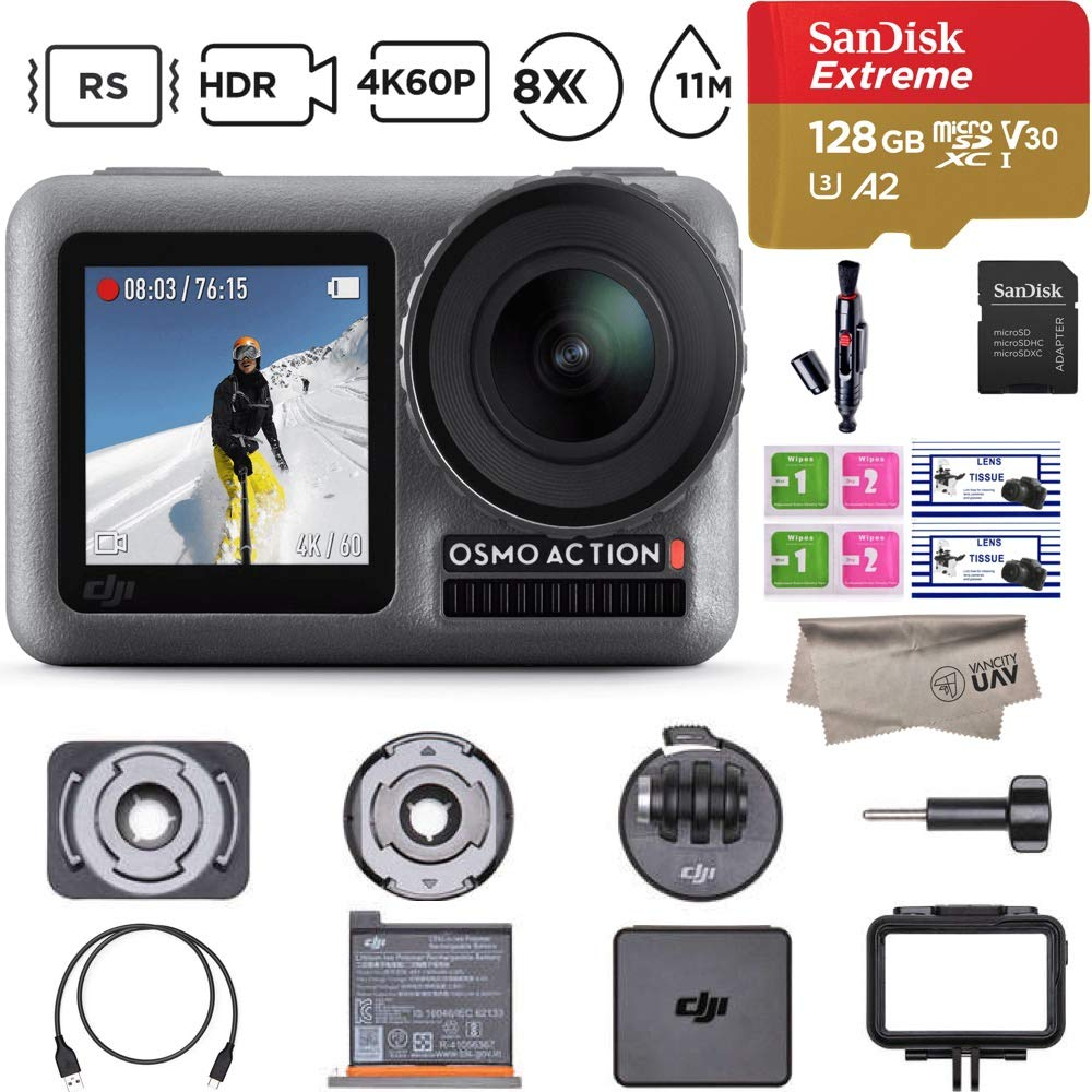 2019 DJI Osmo Action Camera with 2 Screens, 4K HDR Video, RockSteady, 8x Slow Motion, UHD Image Quality, 11m Waterproof, comes 128GB Extreme Micro SD(CP.OS.00000020.01) by DJI