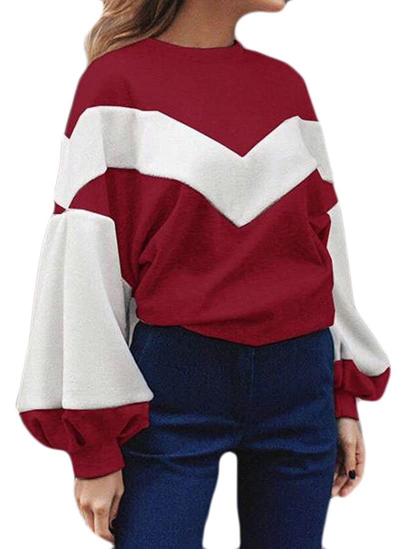 KXP Womens Loose Winter Spring Contrast Top Pullover Sweatshirt Wine Red L