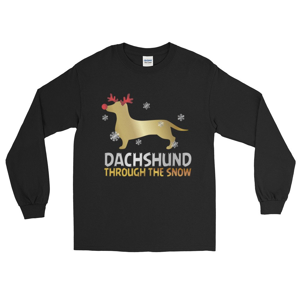 Arkansas made Dachshund Through The Snow Doxie with Snowflakes Long Sleeve Christmas T-Shirt by
