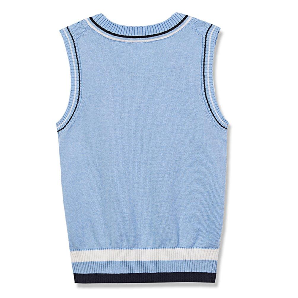 Benito & Benita Sweater Vest School Vest V-Neck Uniforms Cotton Cable-Knit Pullover for Boys/Girls 2-12Y Light Blue by Benito & Benita (Image #2)