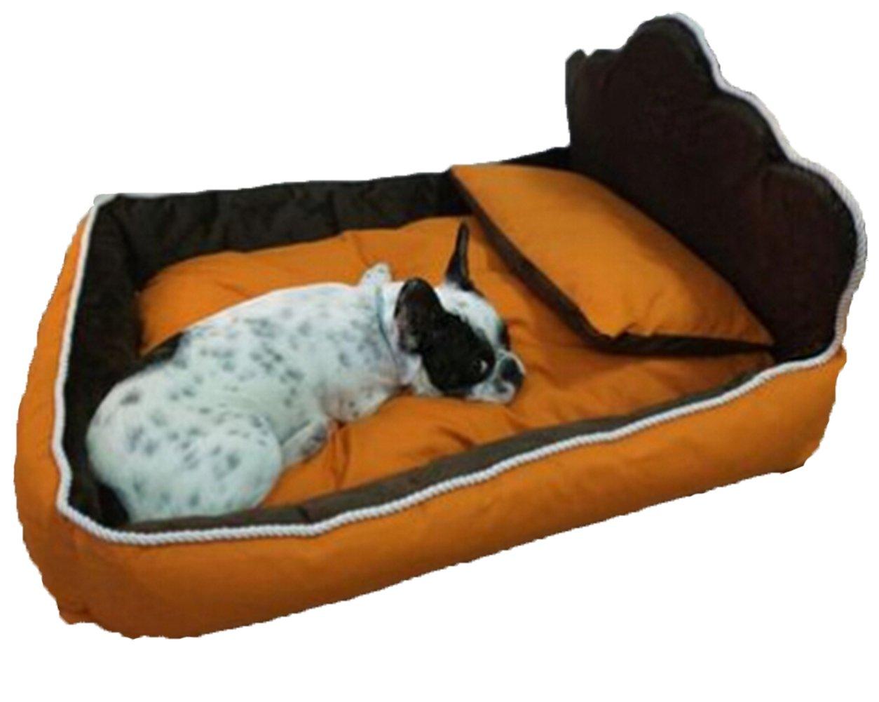 FHD Cama para Perros Mascotas Familia de Cuatro Camas, Colchón, Almohada, Mantas Desmontable Lavable Cat Perrera Cama Perro Grande Estaciones de Princesa (S ...