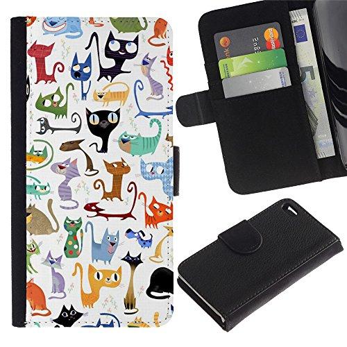 Billetera de Cuero Caso del tirón Titular de la tarjeta Carcasa Funda del zurriago para Apple Iphone 4 / 4S / Business Style Abstract Cat Pattern White Kittens