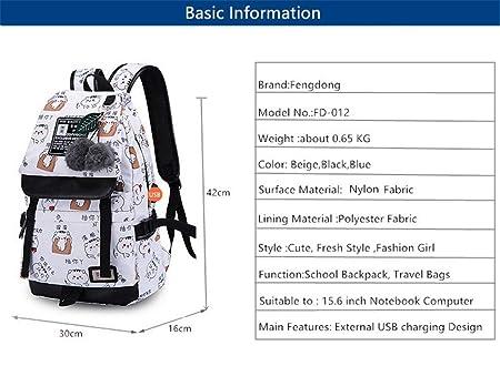 27d1e832574f Amazon.com  School Bags Teenage Girls Cute Plush Ball Kids Backpack Usb Bag  Pack Women Laptop Computer Bag blue cartoon