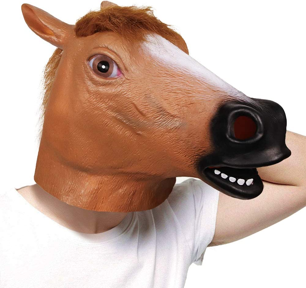 molezu Látex máscaras Marrón Caballo Cabeza Animal para Super Creepy Halloween Fiesta Disfraz Adulto