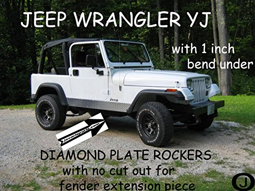 Jeep Yj Wrangler Diamond Plate Rocker Panels No Cut Outs with / 90° 1 Inch - Side Bend