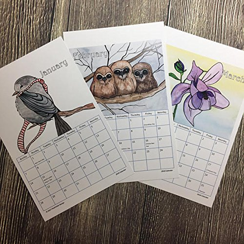 2018 Watercolor Art Calendar with Clipboard by PinkPolish Design
