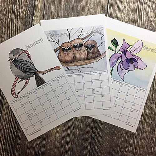 2018 Watercolor Art Calendar with Clipboard