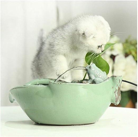Bebedero Gatos Fuente de agua potable de cerámica para gatos, 1,2 litros Fuentes de agua para mascotas para gatos y perros, Dispensador de agua eléctrico para mascotas con bomba y filtros silenciosos: