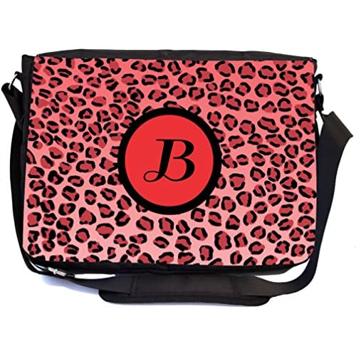 "Rikki Knight Letter ""B"" Initial Red Leopard Print Monogrammed Design Messenger School Bag (mbcp-cond2475)"