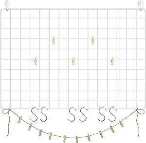 "SONGMICS Grid, Set of 2, 25.6"" x 17.7"", Photo Display, Metal Mesh Decor, Multifunctional Hanging Picture Wall, DIY, S Hook, Clips, Hemp Cord, White , 25.6""L x 17.7""W"