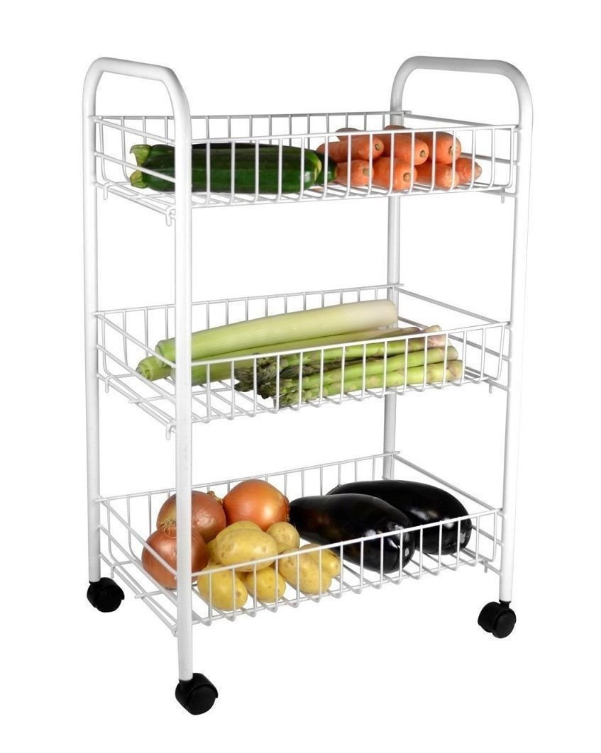 Amazon.com: WHITE 3 TIER FRUIT VEGETABLE RACK WHEELS STORAGE STAND CART  TROLLEY KITCHEN (White Coated) By Prima: Home U0026 Kitchen