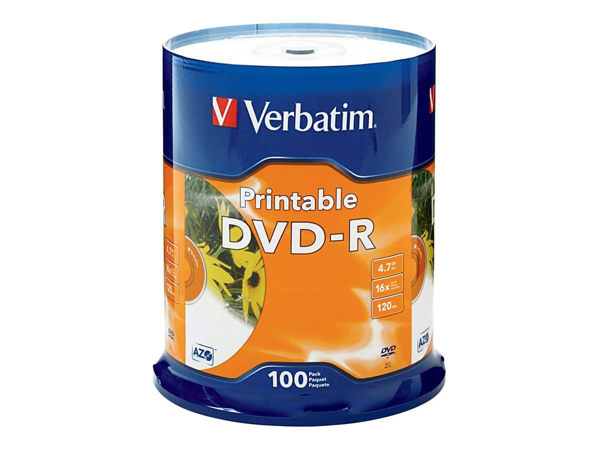 Verbatim 4.7GB up to 16x White Inkjet Printable Recordable Disc DVD-R, 100-Disc Spindle 95153