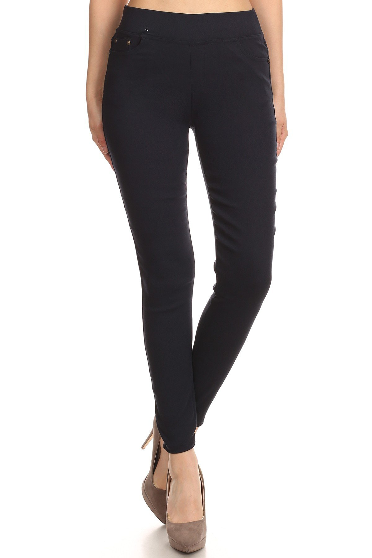 MissMissy Women's Casual Color Denim Slim Fit Skinny Elastic Waist Band Spandex Jeggings Ankle Jeans Pants (Large, Navy) by MissMissy
