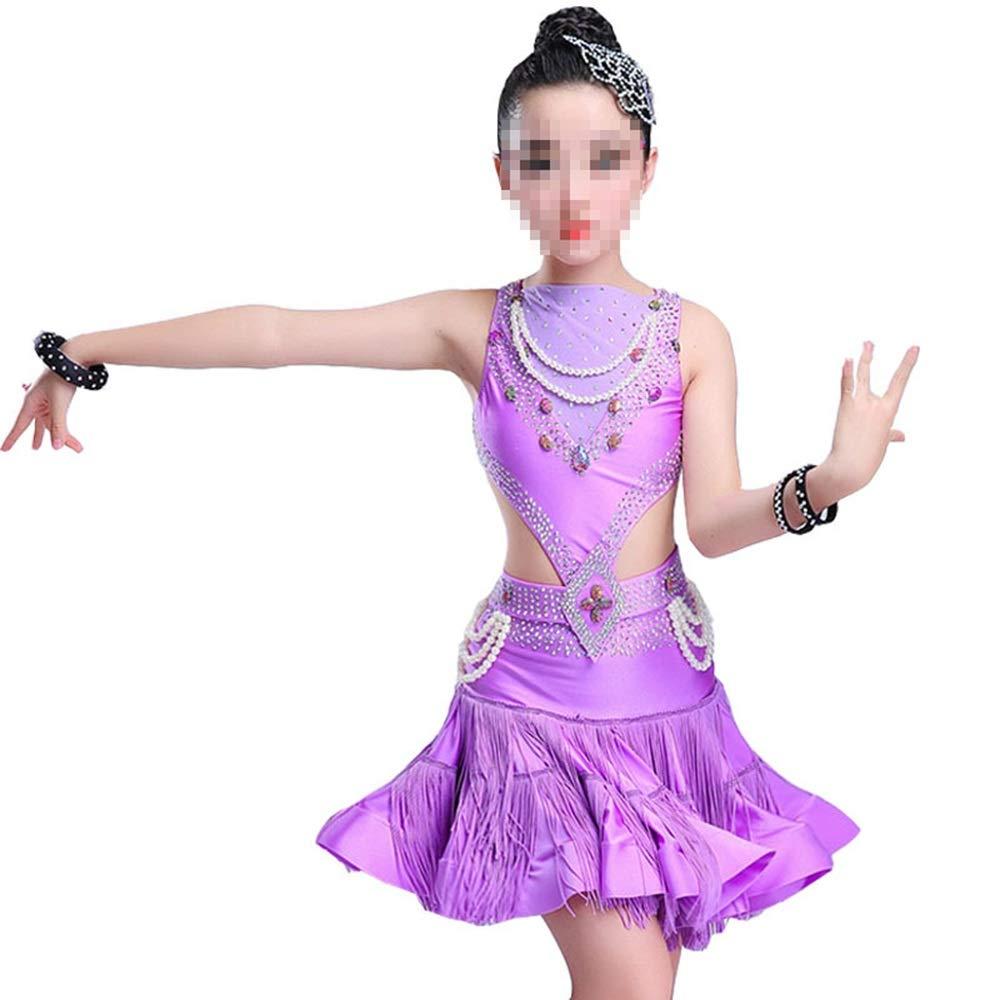 Violet 170cm YuFLangel Robes de soirée pour Fille Jupe Gland Sequin Costumes de Danse Latine pour Les Robes de Danse des Enfants Robe de Demoiselle (Couleur   Rose, Taille   170cm)