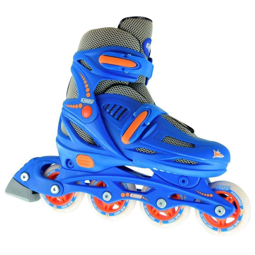 Crazy Skates Adjustable Inline Skates   Adjusts to fit 4 Shoe Sizes   Blue Model 148 Large (Mens 6-8)