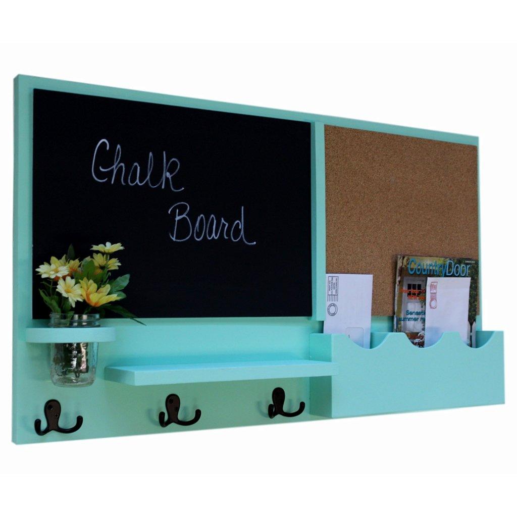 Legacy Studio Décor Message Center with Chalkboard Cork Board Mail Organizer Key Hooks Coat Hooks Mason Jar (Smooth, Seafoam)