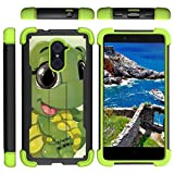 zte imperial ii otterbox - TurtleArmor | Compatible for ZTE Imperial Max Case | Max Duo | Grand X Max 2 [Grip Combat] Hard Shock Impact Dual Armor Kickstand Defender Case Green Designs - Baby Turtle