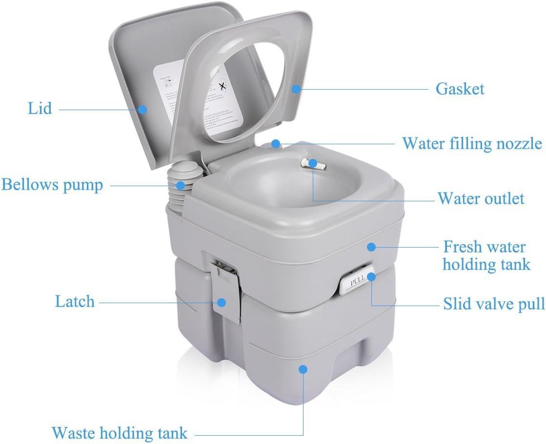 Inodoro portátil Excelvan de 20 l para viajes resistencia de 130 kg, seguro para camping, exteriores/interiores