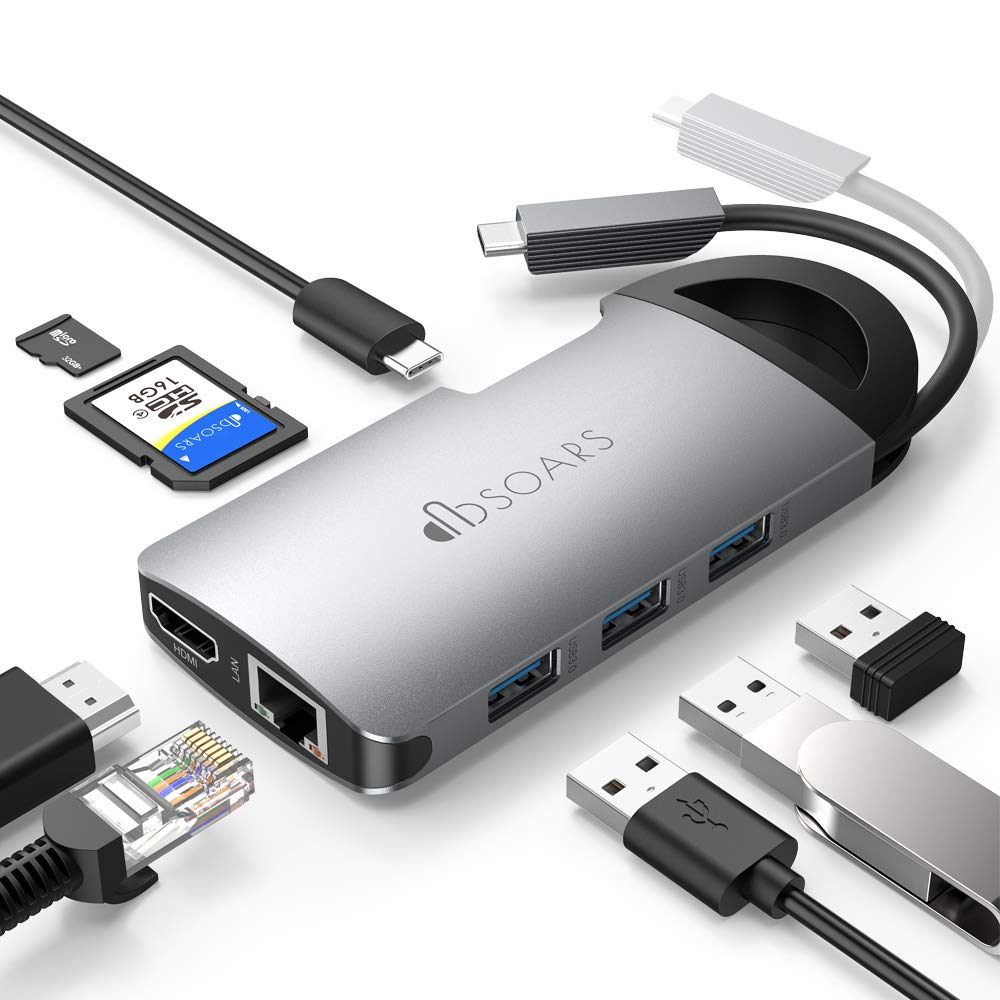 USB C Hub,DBSOARS 8-In-1 Type C Adapter USBC Hub with Hidden Cable,3 USB 3.0,4K HDMI,Gigabit Ethernet,Power Delivery,SD/TF Card Reader,Business Traveler Dock for Macbook Pro and Other USB-C Laptops
