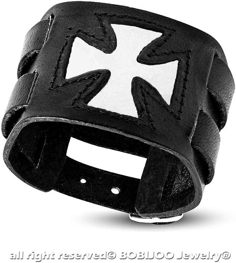 Bracelet de Force Homme Cuir Noir Templier Chevalier M/édi/éval Croix Rouge Blanc BOBIJOO Jewelry