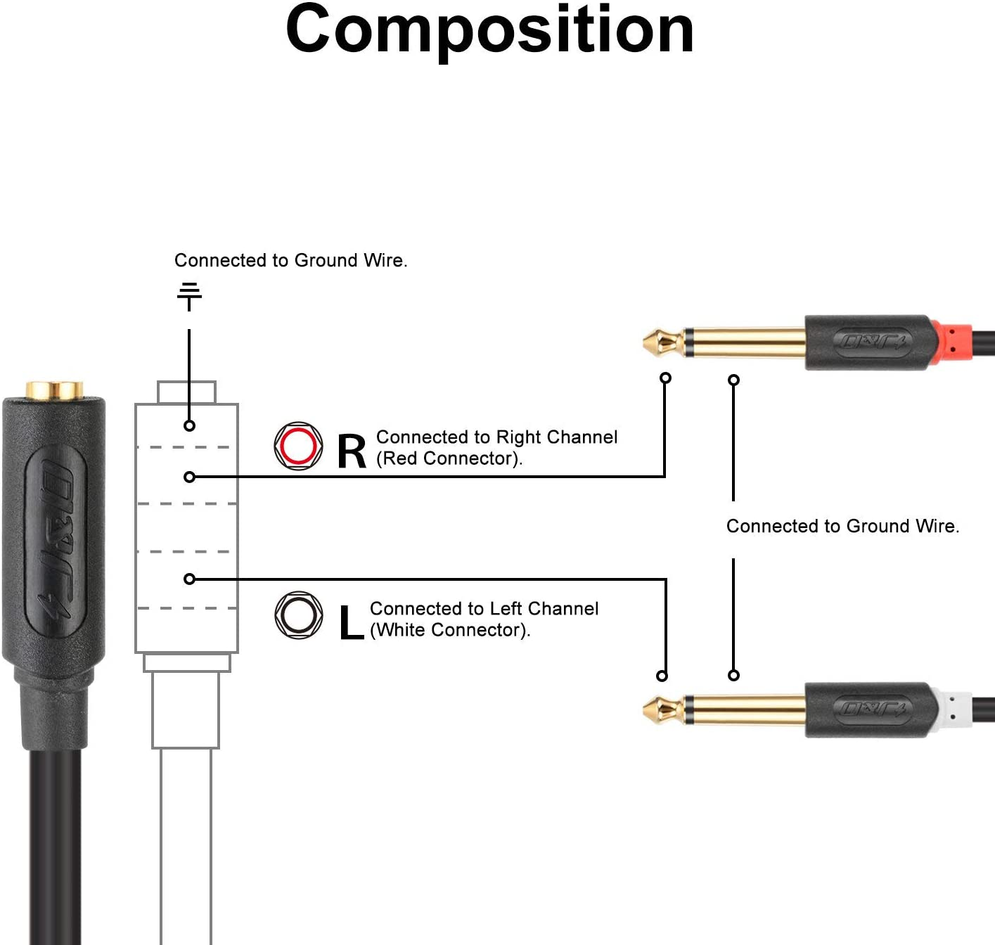 Audiowave Series 3.5mm 1//8 TRS Female to 2X 6.35mm 1//4 TS Male Mono Cable Splitter PVC Shelled Stereo Audio Cable Gold-Plated 6 Feet J/&D 3.5 mm to 2 x 6.35 mm