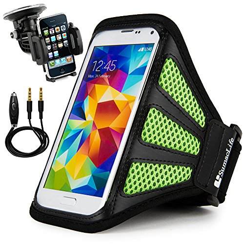 Price comparison product image Multifunctional SumacLife Workout Mesh Armband with Jack Cord Wrapping Enjoy Sports for Xiaomi Redmi 4X / Note 4X Black/Green Come with (Car Holder) and (Audio Plug Cable with Microphone)