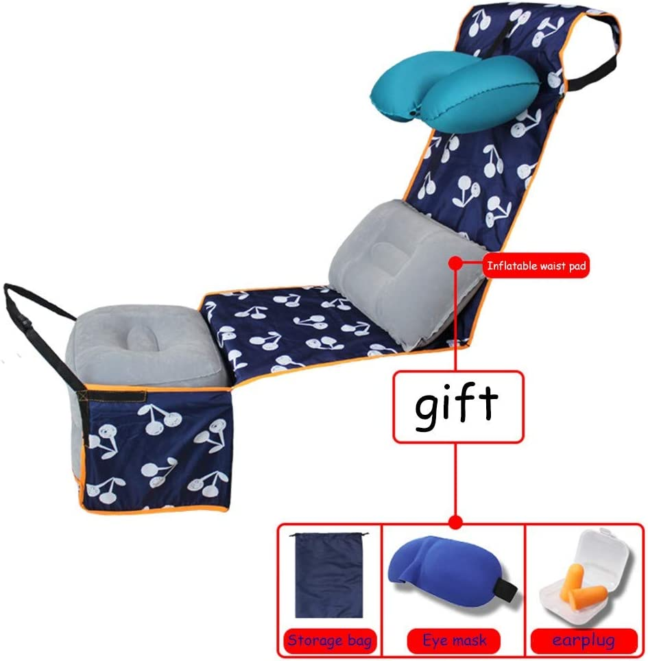 QMJHL Hamaca de Pedal de Tren de avión, Cuerpo de Viaje Relajado y cómodo Accesorios de sueño inflables Estera de Almohada en Forma de U Hamaca Estera antisuciedad