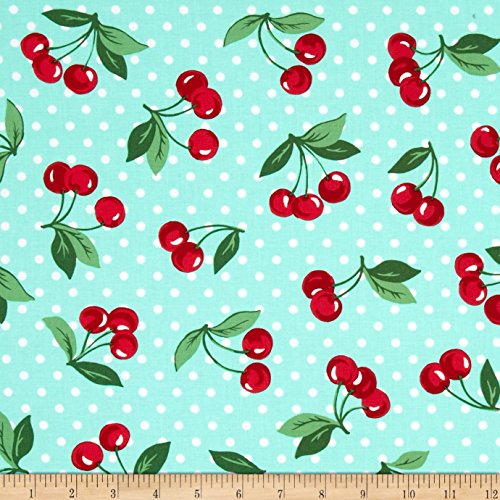 Michael Miller Cherry Dot Mint Fabric By The Yard - Cherry Cotton Fabric