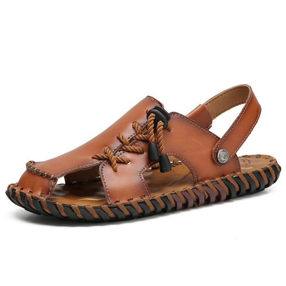 Sandalias y pantuflas casuales de cuero de los nuevos de Baotou del verano Sandalias y deslizadores casuales de un zapato dos desgaste marrón oscuro / marrón claro GAOLIXIA ( Color : Red brown , tamaño : 42 ) 42|Red brown