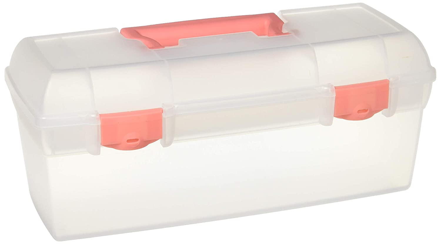 ArtBin Essentials Lift-Out Tray, Art and Craft Storage Box- Trans. W/Coral Latches & Handle, 6936AG Flambeau Inc.