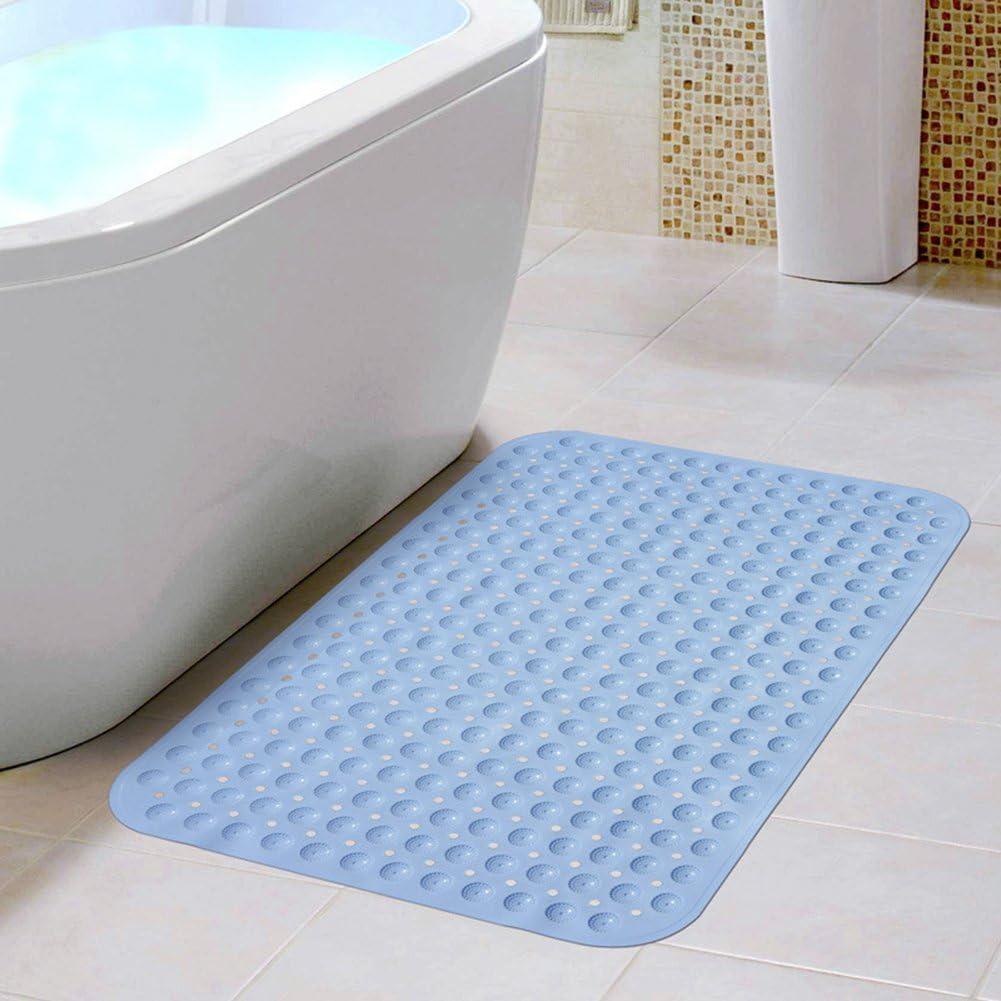 100 * 40cm Non-Slip Bathtub Mat White ELOKI Extra Long Bath Mat Environmental TPR Rubber Anti-Bacterial Shower Tub Mat with Suction Cup