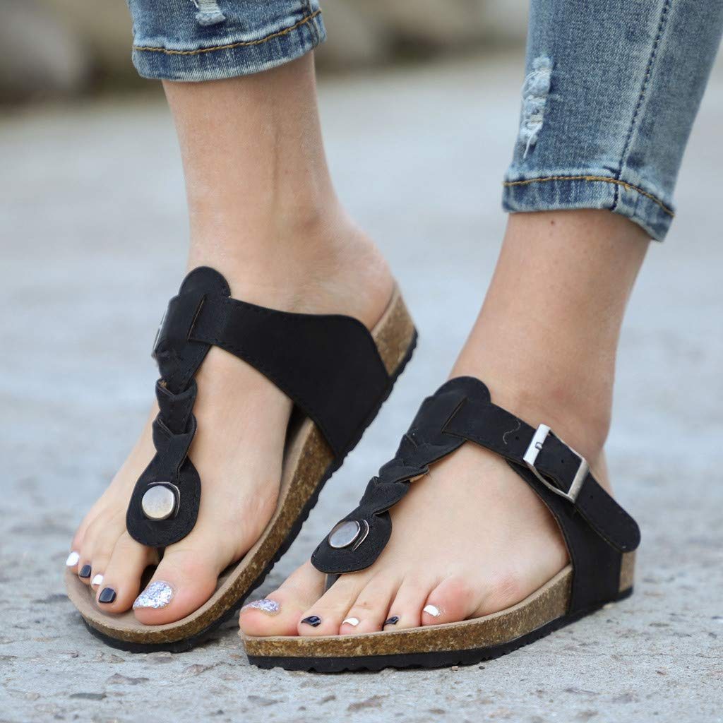 Respctful✿Unisex Leather Sandals Casual Slip On T Strap Thong Shoes Flip Flop Shoes Ladies Women Teens Girls