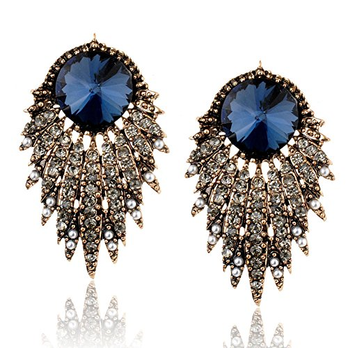 HeyGirl High Alloy Exaggerated Pearl Tassel Zircon Diamond Leaf Earrings Women Accessories(blue-white)