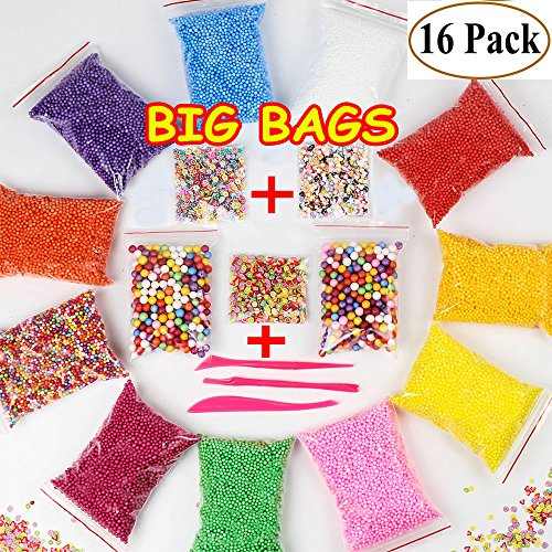 Foam Beads for Slime - Floam Beads for Slime | Foam Balls for Slime | Micro Slime Beads | 0.08-0.32 inch | 16 Pack 60000 pcs with +[Heart, Flower, Fruit Printed Slices]+ 3 Tools for DIY Crafts