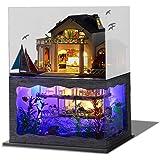 CUTEBEE Dollhouse Miniature with Furniture, DIY Wooden Dollhouse Kit Plus Dust Proof , 1:24 Scale Creative Room Idea (Impress