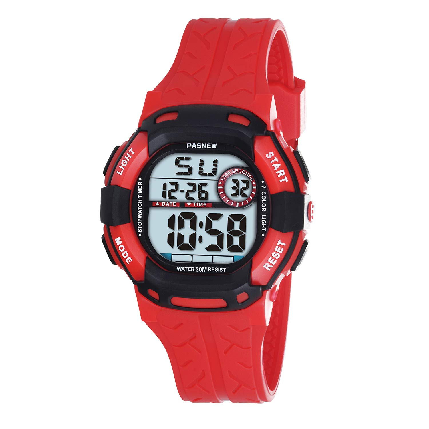 PASNEW Kids Watches Waterproof 100FT Digital Sports Wristwatch with 7-Color Flashing LED Light Alarm Stopwatch Chime Date Day RED Black