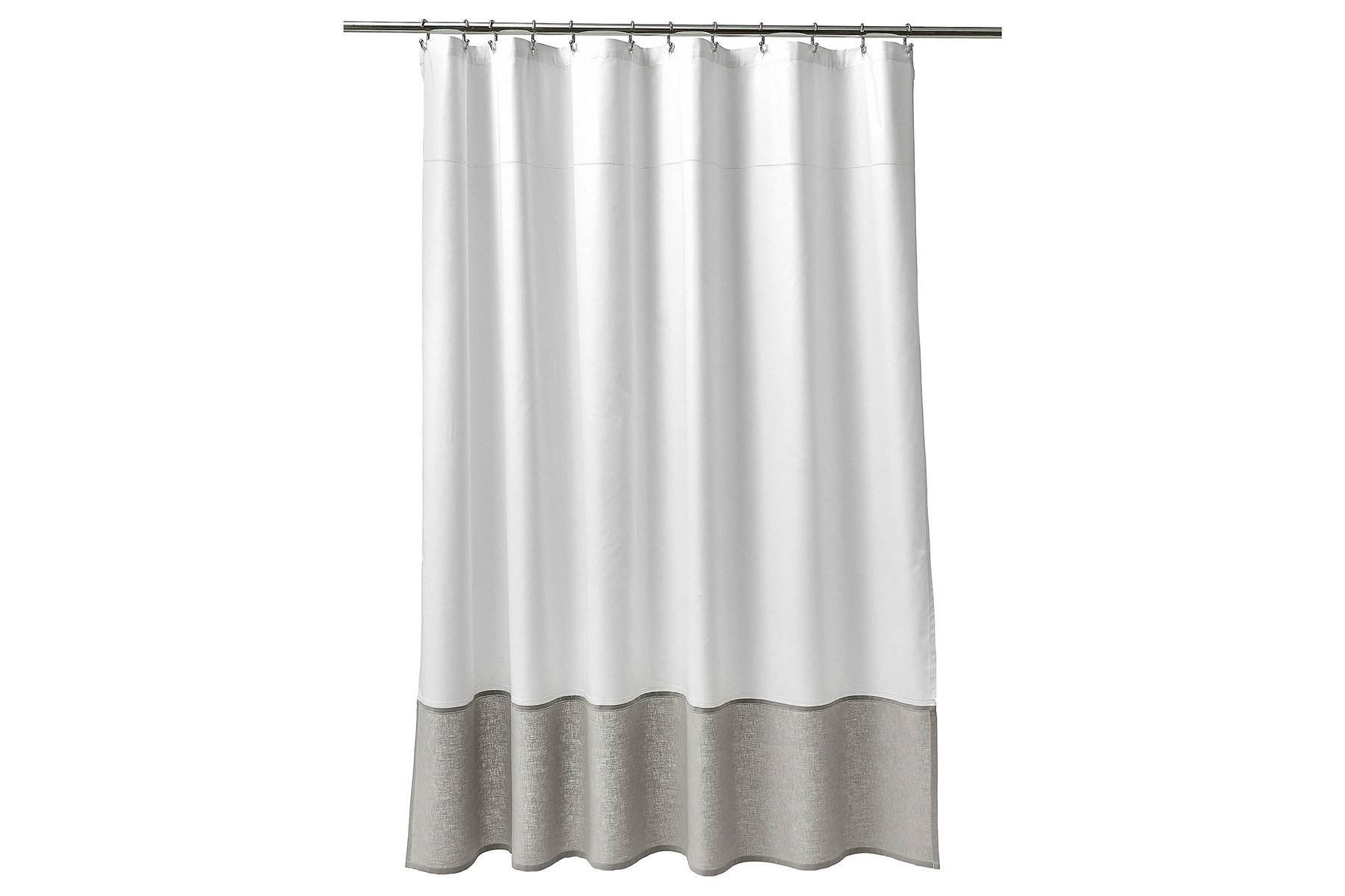 Fieldcrest Shower Curtain White/Grey Oxford Stitch
