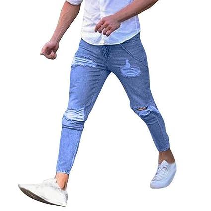4013145905 pantalones rotos largos vaqueros Sannysis hombres vaqueros pantalones  hippie harem pantalones de deportivos con bolsillos slim