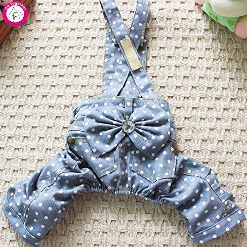 BOSUN(TM) Fashion Jean Dog Clothes Light Blue Dot Print Denim Pet Jumpsuit Coat Girl Dog Overall (Costumes Websites)
