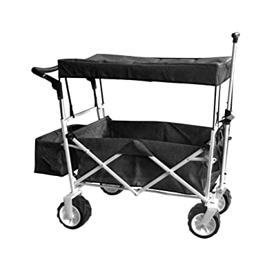 Black Jumbo Wheel Push and Pull Handle Folding Wagon All Purpose Garden Utility Beach Shopping Travel CART Outdoor Sport Collapsible with Canopy Cover Free ICE Cooler Bag Easy Setup NO Tool Necessary: Toys & Games