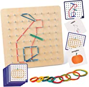 Coogam Wooden Geoboard Mathematical Manipulative Material Array Block Geo Board – Graphical Educational Toys with 30Pcs Patt
