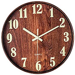 BEW Illuminated Wall Clocks, Large Numerals Wooden Clock, Non-Ticking Movement Decorative Clocks for Living Room, Bedroom, Kitchen, Office (12 Inch)