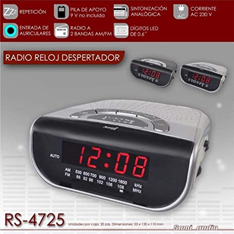 Radio Reloj Despertador con entrada auriculares Sami RS-4725 - Plateado